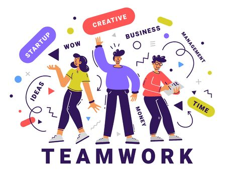 Vector business illustration of team of creative young people with tag word on white background. Communication of group of man and woman character. Flat cartoon style design of teamwork people Illustration