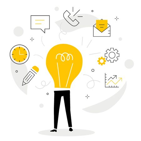 Vector creative illustration of business man with light bulb instead of body and icon on white background. Multitask office worker, creative idea manager. Flat line art style people design for web, poster, banner