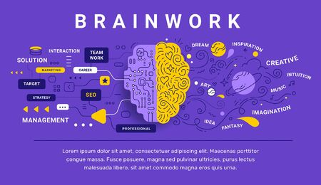 Vector creative illustration of decorative human brain with icon and tag word on color background. Left and right cerebral hemisphere creative and analytical template. Flat line art style brain design for education web banner