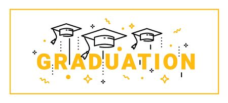 Vector illustration of yellow word graduation with graduate cap on white background. Cap thrown up. Congratulation graduate class of graduation. Line art style design for greeting card, banner, invitation Ilustrace