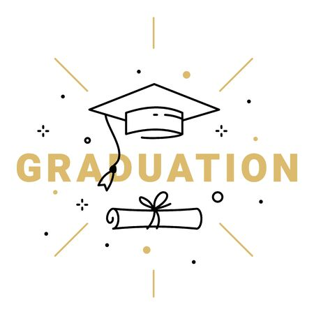 Vector illustration of golden word graduation with graduate cap and diploma on white background. Congratulation graduate class of graduation. Line art style design for greeting card, banner, invitation