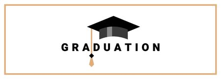 Vector illustration of graduate cap with tassel and word graduation on white background in frame. Congratulation graduate class of graduation. Flat style design for greeting card, banner, invitation