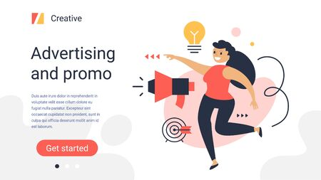 Vector creative business template with illustration of happy successful woman with megaphone and light bulb on color background. Office project manager. Flat style design of work people for web, site, poster, banner