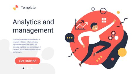 Vector creative business template with illustration of happy successful man with icon on color background. Positive office employee. Flat style design of work people for web, site, poster, banner