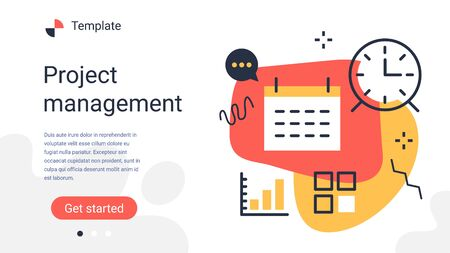 Vector creative business template with illustration of office set icon on color background. Management organization and event planning. Flat line art style design for web, site, poster, banner Иллюстрация