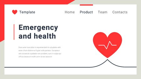 Vector business healthcare template with heart rate on white color background. Emergency and health concept. Flat line art style design for web, site, banner