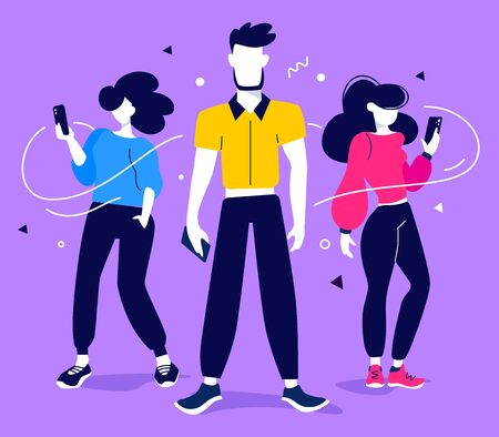 Teamwork communication in business process. Vector creative illustration of startup business people with smart phone on color background. Flat style design of work people for web, site, poster, banner