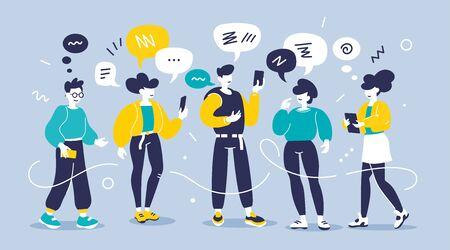 Vector creative illustration of young modern group of people with smart phone on color background. Man and woman chatting communication in messenger. Flat style design of team work people for web, site, poster, banner