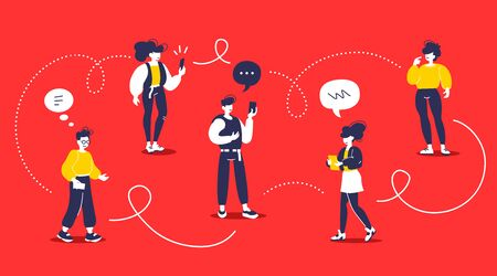 Man and woman chatting communication in messenger. Vector creative illustration of young modern group of people with smart phone on red color background. Flat style design of team work people for web, site, poster, banner