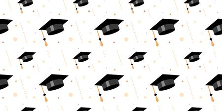 Vector seamless pattern with flying shine graduate cap with tassel and on white background in frame. Congratulation graduate class of graduation. Flat style design for greeting card, banner, invitation Иллюстрация