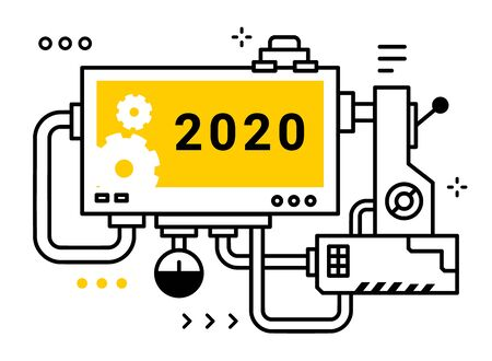 Vector industrial illustration of complicated mechanism with board with number 2020 and lever on white background. Line art style design of machine for web, site, banner, print Illustration