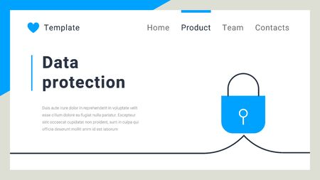 Vector business template with padlock on white color background. Data protection concept. Flat line art style design for web, site, banner