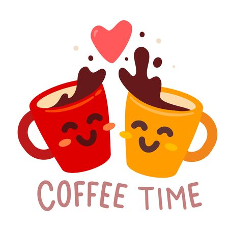 Vector illustration of yellow and red happy friend character coffee cup with heart and text on white background. Coffee time concept. Hand drawn cartoon art flat style design for poster, card, shop, cafe, menu 版權商用圖片 - 147921801