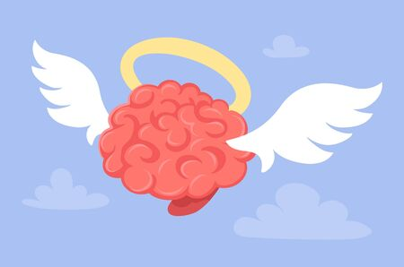 Vector creative illustration of angel pink smart human flying brain with wings and halo on blue sky background with cloud. Flat style religious praying concept design of brain for web, site, banner, poster 向量圖像