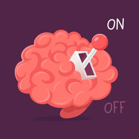 Vector creative idea illustration of pink smart human brain with gear lever on dark background. Flat style energy education concept design of brain for web, site, banner, poster