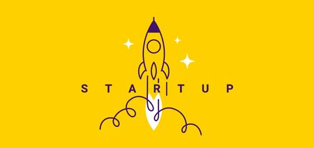 Vector creative business illustration of fly up spaceship and word startup on yellow color background with cloud. Flat line art cartoon style idea design for startup web banner, poster, print Ilustracja