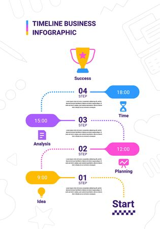 Vector business illustration of timeline infographics template with winner cup and business icon on white background with text and number. Flat line art style infographic design of graphic element for web, site, poster, banner Vettoriali