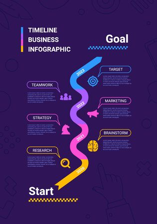 Vector business illustration of timeline infographics template on dark background with business icon and text. Flat line art style infographic design of graphic element for web, site, poster, banner