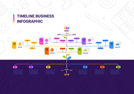 Vector business illustration of tree timeline infographics template on color background with business icon and text. Flat line art style infographic design of graphic element for web, site, poster, banner Vettoriali