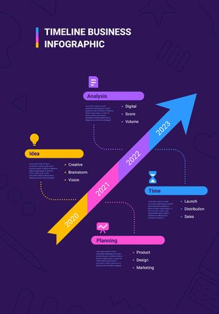 Vector business illustration of arrow timeline infographics template on dark background with business icon and text. Flat line art style infographic design of graphic element for web, site, poster, banner
