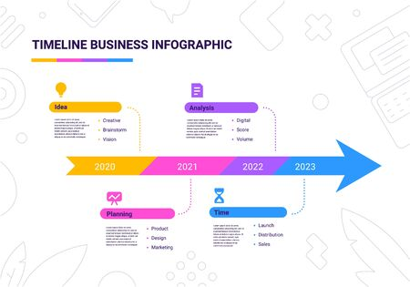 Vector business illustration of arrow timeline infographics template with business icon on white background with text. Flat line art style infographic design of graphic element for web, site, poster, banner
