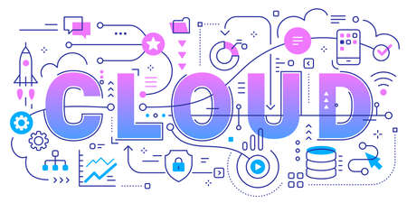 Vector abstract technology illustration of word cloud and connected business icon on white background. Line art style innovation design of graphic element with line and cloud for web, site, poster, banner Vettoriali