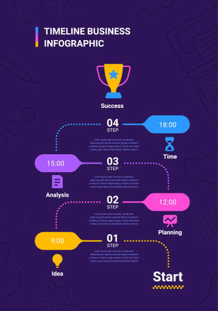 Vector business illustration of timeline infographics template with winner cup and business icon on dark background with text and number. Flat line art style infographic design of graphic element for web, site, poster, banner