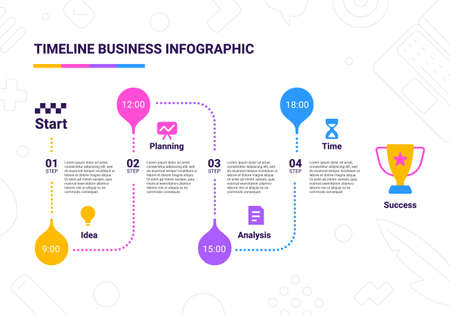 Vector business illustration of timeline infographics template with business icon and winner cup on white background with text and time. Flat line art style infographic design of graphic element for web, site, poster, banner