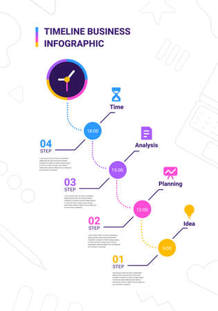 Vector business illustration of step timeline infographics template with clock on white background with business icon and text. Flat line art style infographic design of graphic element for web, site, poster, banner Ilustracja