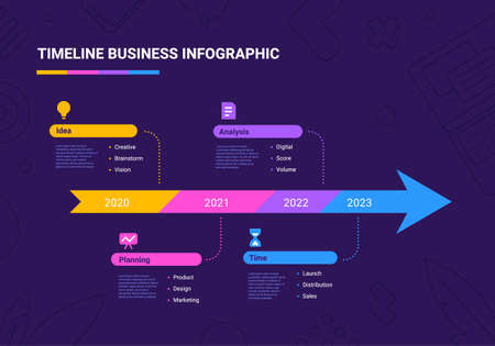Vector business illustration of arrow timeline infographics template with business icon on dark background with text. Flat line art style infographic design of graphic element for web, site, poster, banner Ilustracja