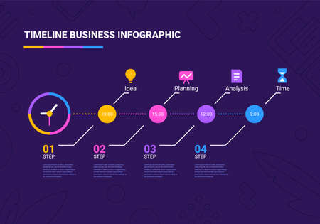 Vector business illustration of step timeline infographics template with clock and business icon on dark background with text. Flat line art style infographic design of graphic element for web, site, poster, banner