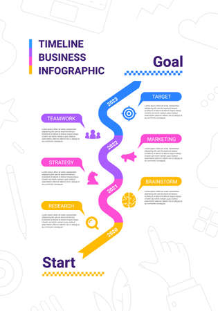Vector business illustration of timeline infographics template with business icon on white background with text. Flat line art style infographic design of graphic element for web, site, poster, banner