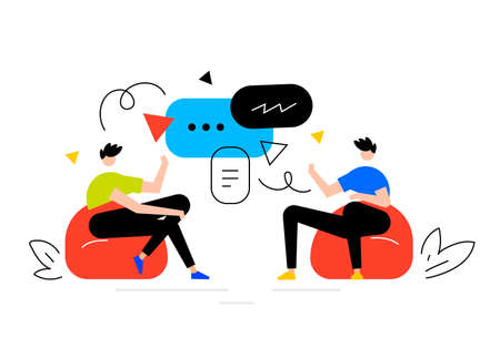 vector business illustration of man with speech bubble, friend people communication