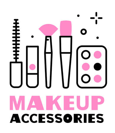 vector illustration of set of cosmetics, makeup accessories
