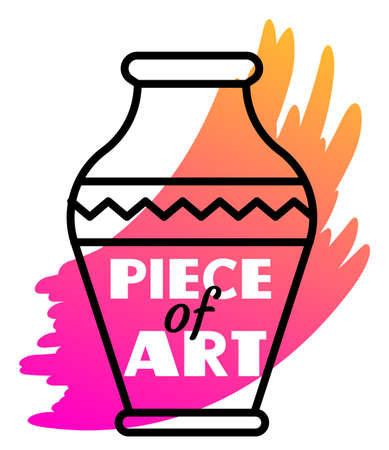 Vector illustration of a vase with paint and text