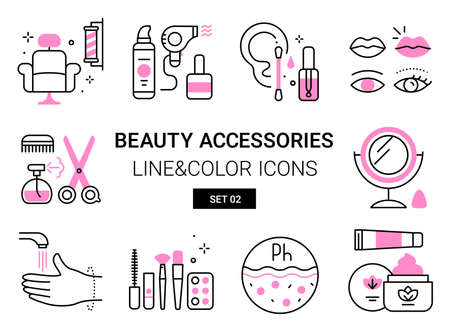 Vector set of beauty icons of accessories and hygienic personal care on white background 向量圖像