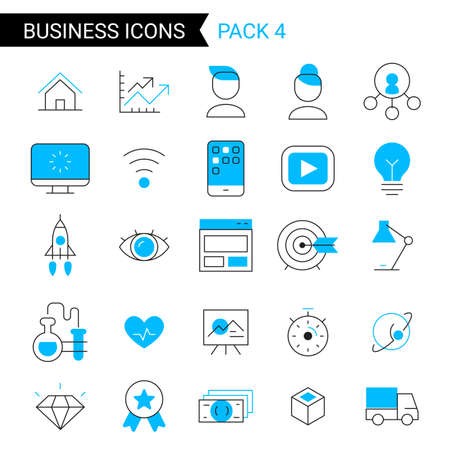 Vector set of different blue business icon with space ship and light bulb on white background 向量圖像
