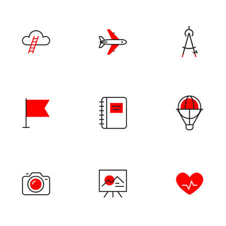 Vector set of different red business icon with air plane and camera on white background 向量圖像