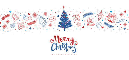 Christmas vector illustration with decorated fir tree and holiday elements on white color backgrounds with text Ilustração Vetorial
