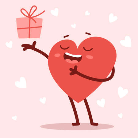 Vector red cute happy heart character giving a present with smile on pink background. Romantic flat style design Valentine's Day illustration to share feeling of love