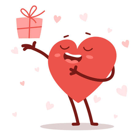 Vector red cute happy heart character giving a present with smile on white background. Romantic flat style design Valentine's Day illustration to share feeling of love
