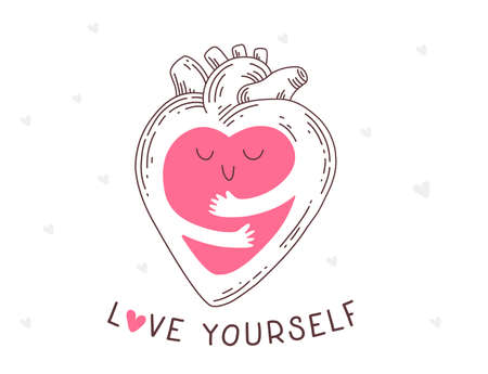 Vector cartoon human internal organ, anatomic heart with arms hugging self, self care and love yourself with text, line art