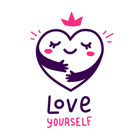 Vector cute happy heart character with hands hugging self on white background, world heart day