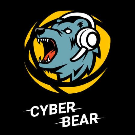 Vector bear head with headphones on black background. Line art flat style design of user avatar