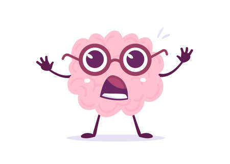 Vector Creative Illustration of Pink Human Brain Character in Glasses with Big Eyes on White Background. Flat Style Education Concept Design of Brain for Web, Site, Banner, Poster
