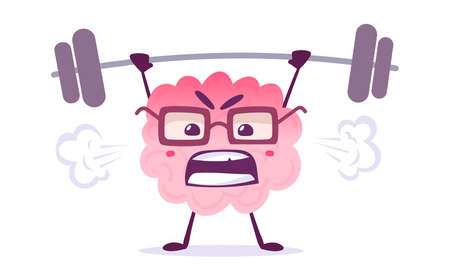 Vector Creative Illustration of Strong Pink Human Brain Character in Glasses Lifting Weight on White Background. Flat Style Knowledge Concept Design of Emotional Brain for Web, Site, Banner, Poster