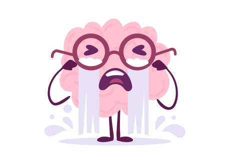 Vector Creative Illustration of Emotional Crying Pink Human Brain Character with Stream of Tear on White Color Background. Flat Doodle Style Knowledge Concept Design of Unhappy Brain in Glasses for Web, Site, Banner, Poster