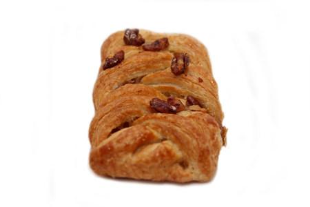 danish puff pastry: Apple and Pecan plait danish pastry on wooden white Stock Photo