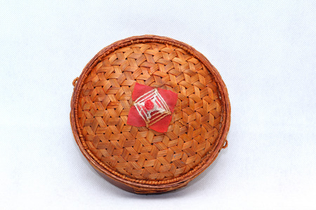 lid: Lid, Weaved Baskets For Rice Stock Photo
