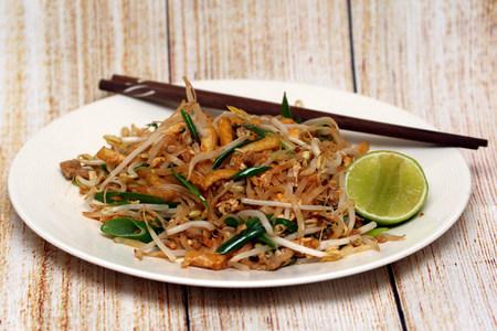 padthai: Padthai Thai style noodles. Thai stir fry noodles Stock Photo